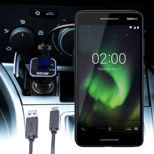 Keep your Nokia 2.1 fully charged on the road with this compatible Olixar high power dual USB 3.1A Car Charger with an included high quality USB to Micro-USB charging cable.