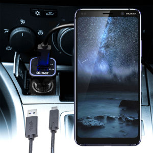 Keep your Nokia 9 PureView fully charged on the road with this compatible Olixar high power dual USB 3.1A Car Charger with an included high quality USB to USB-C charging cable.