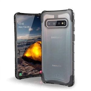 The Urban Armour Gear Plyo semi-transparent tough case in ice for the Samsung Galaxy S10 features reinforced Air-Soft corners and an optimised honeycomb structure for superior drop and shock protection.