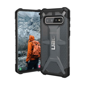 The Urban Armour Gear Plasma for the Samsung Galaxy S10 features a protective TPU case in ash grey and black with a brushed metal UAG logo insert for an amazing design and excellent protection from scrapes, bumps and scratches.