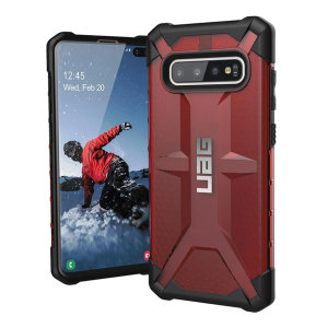 The Urban Armour Gear Plasma for the Samsung Galaxy S10 Plus features a protective TPU case in Magma with a brushed metal UAG logo insert for an amazing design and excellent protection from scrapes, bumps and scratches.