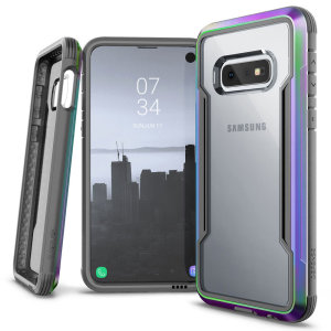 The X-Doria Defense Shield with iridescent frame and clear back is an incredibly stylish and protective case for your Samsung Galaxy S10e. Tested to survive 10ft drops onto concrete the Defense Shield provides excellent protection.