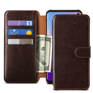 The VRS Design Dandy Wallet Case in dark brown for the Samsung Galaxy S10 comes complete with card slots, a large document pocket and is made with a luxurious leather-style material for a classic, prestige and professional look.