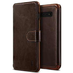 The VRS Design Dandy Wallet Case in dark brown for the Samsung Galaxy S10 Plus comes complete with card slots, a large document pocket and is made with a luxurious leather-style material for a classic, prestige and professional look.