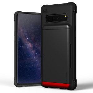Skydda din Samsung Galaxy S10 med detta exakt utformade skal i svart från VRS Design. Den här hårda skalkonstruktionen, som är tillverkad av ett tåligt men tunt material, med mjuk kärna innehåller patenterad glidteknik för att förvara två kreditkort eller ID.