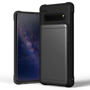 Protect your  with this precisely designed Samsung Galaxy S10 case in steel silver from VRS Design. Made with tough yet slim material, this hardshell construction with soft core features patented sliding technology to store two credit cards or ID.