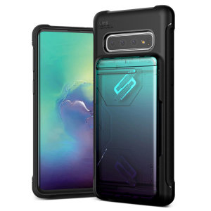 Protect your with the Damda Glide Solid Series Samsung Galaxy S10 case in green / purple from VRS Design. Made with tough yet slim material, this hardshell construction with soft core features patented sliding technology to store two credit cards or ID.
