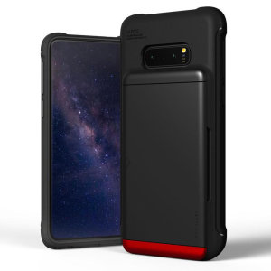 Protect your  with this precisely designed Samsung Galaxy S10e case in Black from VRS Design. Made with tough yet slim material, this hardshell construction with soft core features patented sliding technology to store two credit cards or ID.