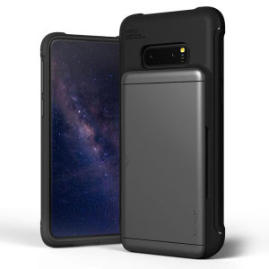 Protect your  with this precisely designed Samsung Galaxy S10e case in steel silver from VRS Design. Made with tough yet slim material, this hardshell construction with soft core features patented sliding technology to store two credit cards or ID.