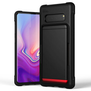 Protect your  with this precisely designed Samsung Galaxy S10 Plus case in black from VRS Design. Made with tough yet slim material, this hardshell construction with soft core features patented sliding technology to store two credit cards or ID.