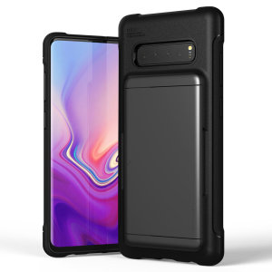 Protect your  with this precisely designed Samsung Galaxy S10 Plus case in steel silver from VRS Design. Made with tough yet slim material, this hardshell construction with soft core features patented sliding technology to store two credit cards or ID.