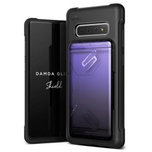 Protect your with the Damda Glide Solid Samsung Galaxy S10 Plus case in purple / black from VRS Design. Made with tough yet slim material, this hardshell construction with soft core features patented sliding technology to store two credit cards or ID.