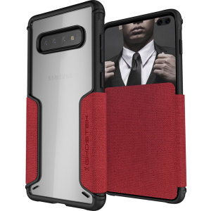 The Exec3 premium wallet case in red provides your Samsung Galaxy S10 Plus with fantastic protection. Also featuring storage slots for your credit cards, ID and cash.