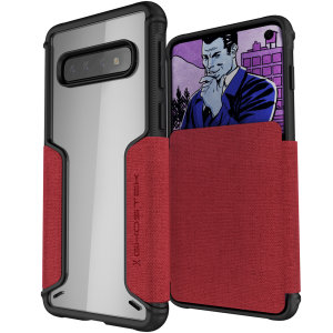 The Exec3 premium wallet case in red provides your Samsung Galaxy S10 with fantastic protection. Also featuring storage slots for your credit cards, ID and cash.
