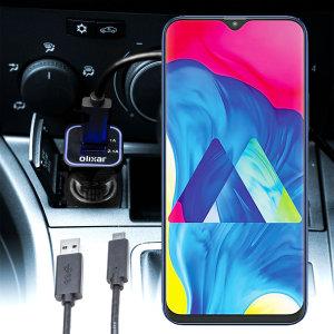 Tieni il tuo Samsung Galaxy M10 completamente carico sulla strada con questo Caricabatterie da auto compatibile Olixar ad alta potenza doppio USB 3.1A con un cavo di ricarica da USB a Micro-USB di alta qualità incluso.