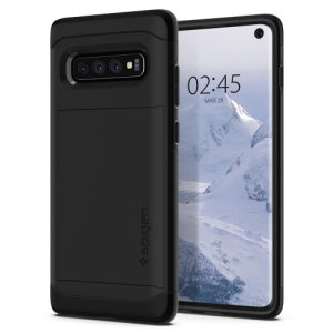 The Spigen Samsung Galaxy S10 Slim Armor CS Case in gunmetal features a back compartment that can hold up to 2 credit cards or IDs. It is constructed with the Air Cushion Technology that gives extreme shock absorption and device protection.