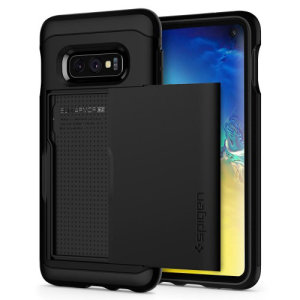 The Spigen Samsung Galaxy S10e Slim Armor CS Case in gunmetal features a back compartment that can hold up to 2 credit cards or IDs. It is constructed with the Air Cushion Technology that gives extreme shock absorption and device protection.