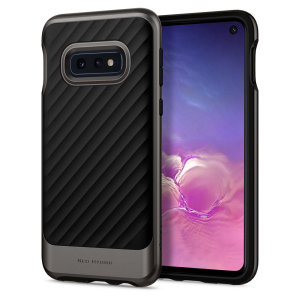 The Spigen Neo Hybrid in gunmetal grey is the new leader in lightweight protective cases. The new Air Cushion Technology corners reduce the thickness of the case while providing optimal protection for your Samsung Galaxy S10e.