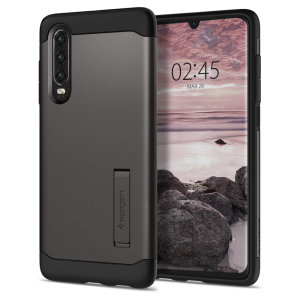 The Slim Armor case for the Huawei P30 in gun metal has shock absorbing technology specifically incorporated to protect the device from impacts from any angle.