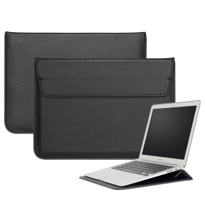 "The Olixar Leather-Style sleeve in black is a slim, form-fitting and extremely durable case for your 15"" laptop. With a unique, sleek and stylish design, the sleeve incorporates a built-in stand."