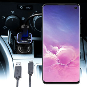 Keep your Samsung Galaxy S10 fully charged on the road with this compatible Olixar high power dual USB 3.1A Car Charger with an included high quality  1m USB to USB-C charging cable.