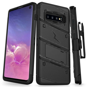 Equip your Samsung Galaxy S10 with military grade protection and superb functionality with the ultra-rugged Bolt case in black from Zizo. Coming complete with a handy belt clip and integrated kickstand.