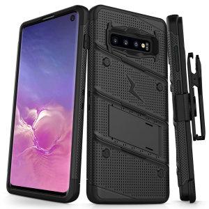 Utstyre din Samsung Galaxy S10 med militær karakter beskyttelse og suveren funksjonalitet med ekstra robust Bolt fra Zizo. Kommer komplett med en herdet glass skjermbeskytter og en hendig belteklemme / kickstand.