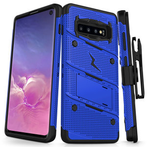 Equip your Samsung Galaxy S10 with military grade protection and superb functionality with the ultra-rugged Bolt case in blue from Zizo. Coming complete with a handy belt clip and integrated kickstand.