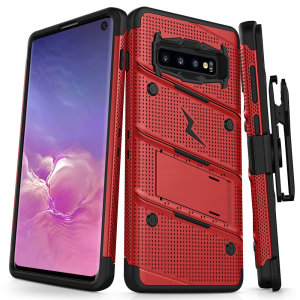 Equip your Samsung Galaxy S10 with military grade protection and superb functionality with the ultra-rugged Bolt case in red from Zizo. Coming complete with a handy belt clip and integrated kickstand.