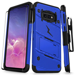 Equip your Samsung Galaxy S10e with military grade protection and superb functionality with the ultra-rugged Bolt case in blue from Zizo. Coming complete with a handy belt clip and integrated kickstand.