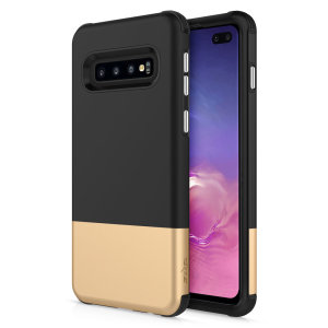 The sleek division series for the Samsung Galaxy S10 Plus. The black and gold finish gives you protection for your phone in style. This case is made for pure luxury and style.
