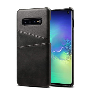 Designed for the Samsung Galaxy S10, this black executive leather-style case from Olixar provides a perfect fit and durable protection against scratches, knocks and drops with the added convenience of 2 RFID protected credit card-sized slots.