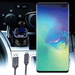 Keep your Samsung Galaxy S10 Plus fully charged on the road with this compatible Olixar high power dual USB 3.1A Car Charger with an included high quality 1m USB to USB-C charging cable.