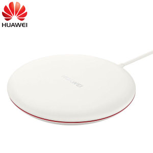 Wirelessly charge your smartphone with this official Huawei Wireless Charging Pad in white, featuring intelligent circuit protection.