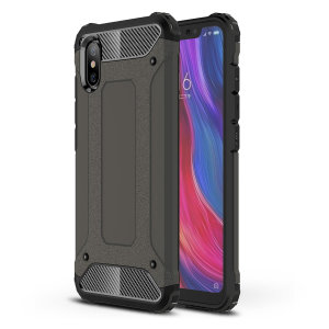 Protect your Xiaomi Mi 8 Pro from bumps and scrapes with this gunmetal Delta Armour case from Olixar. Comprised of an inner TPU section and an outer impact-resistant exoskeleton.