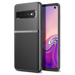 The Obliq Flex Pro Shell Case in carbon black is a stylish and ergonomic protective case for the Samsung Galaxy S10, providing impact absorption and fantastic grip due to its textured surface design.