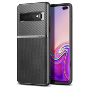 The Obliq Flex Pro Shell Case in carbon black is a stylish and ergonomic protective case for the Samsung Galaxy S10 Plus, providing impact absorption and fantastic grip due to its textured surface design.