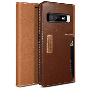 The K3 Wallet Case in brown and burgundy for the Samsung Galaxy S10 Plus comes complete with card slots, a large document pocket and is made with luxurious leather-style materials for a classic, prestige and professional look.