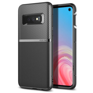 The Obliq Flex Pro Shell Case in carbon black is a stylish and ergonomic protective case for the Samsung Galaxy S10e, providing impact absorption and fantastic grip due to its textured surface design.