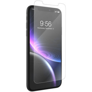 This contoured glass screen protector from InvisibleShield for iPhone XR covers and protects your device's display, while also supporting an ergonomic design engineered to be compatible with a wide range of cases.