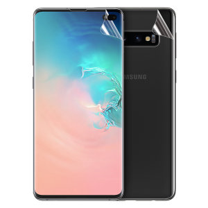 Keep your Samsung Galaxy S10 Plus in pristine condition all over with this Olixar scratch-resistant full cover TPU screen protector 2-in-1 pack. Features 2 interlocking screen protectors that fully cover the back and front of your phone.