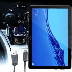 Mantieni il tuo Huawei MediaPad T5 completamente carico sulla strada con questo Caricabatterie da auto compatibile Olixar ad alta potenza doppio USB 3.1A con un cavo di ricarica da USB a Micro-USB di alta qualità incluso.