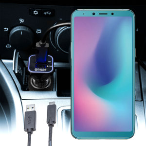 Keep your Samsung Galaxy A6s fully charged on the road with this compatible Olixar high power dual USB 3.1A Car Charger with an included high quality  1m USB to USB-C charging cable.
