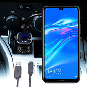 Keep your Huawei Y7 Pro 2019 fully charged on the road with this compatible Olixar high power dual USB 3.1A Car Charger with an included high quality USB to Micro-USB charging cable.