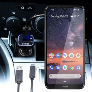 Keep your Nokia 3.2 fully charged on the road with this compatible Olixar high power dual USB 3.1A Car Charger with an included high quality USB to Micro-USB charging cable.