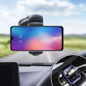 Mantenga seguro su Xiaomi Mi 9 mientras viaja gracias a este pack de coche Olixar DriveTime que incluye un cargador y un soporte de coche.