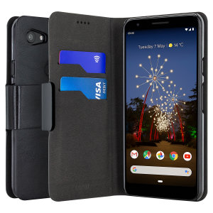 The Olixar leather-style Google Pixel 3a XL Wallet Case in black attaches to the back of your phone to provide enclosed protection and can also be used to hold your credit cards. So leave your regular wallet at home when you need to travel light.