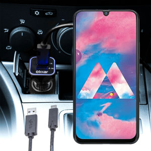 Keep your Samsung Galaxy M30 fully charged on the road with this compatible Olixar high power dual USB 3.1A Car Charger with an included high quality  1m USB to USB-C charging cable.