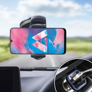 Essential items you need for your smartphone during a car journey all within the Olixar DriveTime In-Car Pack. Featuring a robust one-handed phone car mount and car charger with an additional USB port for your Samsung Galaxy M30.