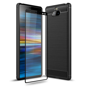 Flexible rugged casing with a premium matte finish non-slip carbon fibre and brushed metal design, the Olixar Sentinel case in black keeps your Sony Xperia 10 Plus protected from 360 degrees with the added bonus of a tempered glass screen protector.